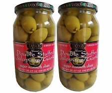 2 Pack Tassos Greek Olives Double Stuffed Jalapeno Garlic Net70.54oz Dry40.92oz