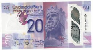 CLYDESDALE BANK £20 POLYMER PREFIX W/JT 029945 - 029963 UNCIRCULATED FREEPOST UK