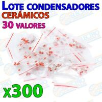 Lote 300 Condensador ceramico 2pF a 100nF 0,1uF 50v 30 valores kit