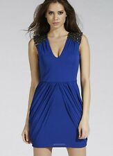 BNWT  * Lipsy * Size 8,  Cobalt Blue Dress, Embellished Shoulder,drape skirt,£70