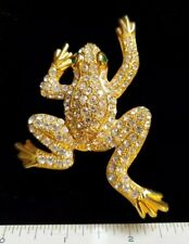 Vintage Estate Jewelry Large Gold tone Frog Pave Rhinestone Crystal Brooch Pin