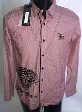 """NEW ED HARDY """"God Father If Modern Tattoo"""" Lg Button Front Shirt Lion Graphic"""