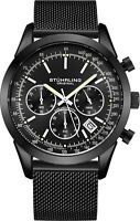 Stuhrling Men's Japan Quartz Chronograph Stainless Steel Mesh Band Watch 10 ATM