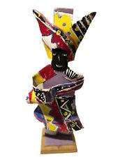 Primitive island Women Hand Craft Art Doll Paper & Wood From Bahamas