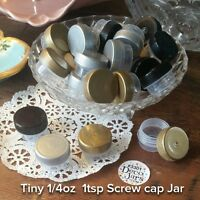 12 Tiny 1tsp clear JAR Screw on Gold Silver Black Cap Lid Mini 3301 Containers