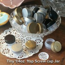 12 Tiny 1tsp clear JAR Screw on Gold Silver Black Cap Lid Mini diy Containers