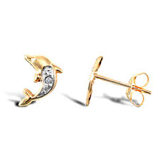9CT YELLOW & WHITE GOLD CHILDRENS DOLPHIN CUBIC ZIRCONIA STUD EARRINGS E ROSE Co