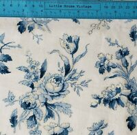 Vintage Floral White Blue Cotton Fabric Sewing Doll Clothes Apparel Quilt BTHY