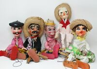 Vintage Marionette String Puppets 5 Mexican Composition Folk Art Hand Painted