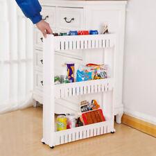 3/4-Tier Household Storage Cart Slim Slide Tower Rack Kitchen Shelf With Wheels