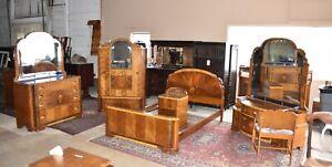 Rare Ornate Antique 6 piece Bedroom Set, Art Deco Style