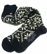 NEW Alpine KNEE-HIGH WOOL SOCKS Navy/Off-White Snowflake 9-12 Unisex Ski X-mas