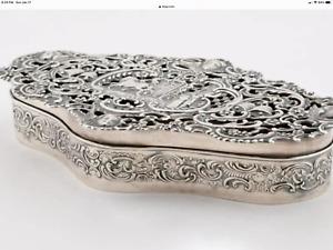 Edwardian English Sterling Silver Bridal Potpourri Box 1906 7.4 oz 7.5 inches