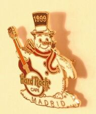 Madrid Snowman with red Guitar & Scarf B15D143 hard rock cafe pin 1999 UK Seller