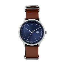 CHEAPO NEW Leather Watch Navy Blue Metal Harold BNIB
