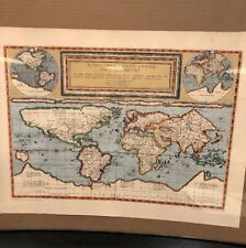 """Vintage Poster Of """" The World By Gerard nd Cornelis De Jode, 1589"""""""