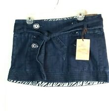 Jalate Denim Jean Mini Skirt Size 11 Junior Belt Tie NEW