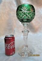 """Poland 12"""" Green Cut to Clear 24% Crystal Wine Glass Candle Holder Vase"""