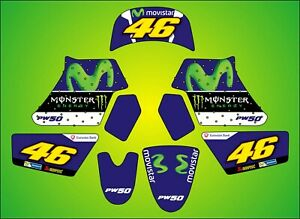 YAMAHA PW 50 ROSSI GRAPHICS inc. Rider Name and Number Custom Stickers decals