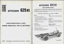 FIAT 625 N1 autocarro manuale caratteristiche e dati - norme per le revisioni