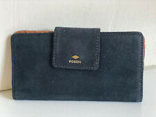 NEW ! FOSSIL GIFT TAB INDEXER SHINY BLACK CLUTCH LEATHER WALLET SALE