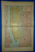 Vintage 1903 MAP ~ NEW YORK CITY - LONG ISLAND CITY - BROOKLYN Antique Original