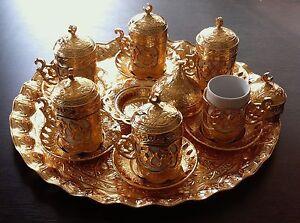 Turkish Coffee-Espresso Big Set Tray Ottoman Bowl Copper Porcelain Choose Colour