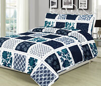 Twin, Queen, or King Quilt Patchwork Navy Blue White Teal Bedspread Bedding Set