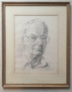 James Edward BOSTOCK 1917-2006 original signed pencil sketch self-portrait age72