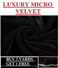 Luxury Soft Black Micro Triple Velvet Velour Dress-Making Craft Fabric Costume