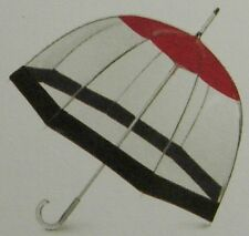 TOTES - CLEAR BUBBLE DOME W/RED DOME & BLACK BORDER MANUAL STICK UMBRELLA-NWT