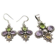 Free Shipping Silver Amethyst, Peridot, Citrine Earrings Pendant Matching Set
