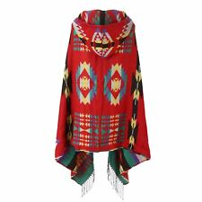 Women Bohemian Fringed Wool Hooded Cloak Cape Shawl Ethnic Collar Coat Shawl