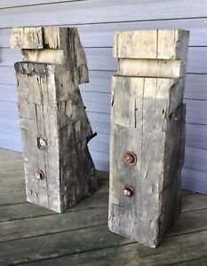 1880 Vintage Rustic Reclaimed Barn Wood Hand Hewn Beam Fireplace Mantel Corbels
