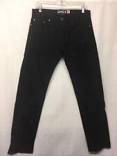 Only Men's Cotton 5 Pocket Style Solid Black Jeans Pants Size 32