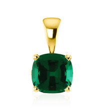 Lab created emerald yellow gold fine necklaces pendants ebay 14k yellow gold emerald pendant lab green emerald cushion cut 6 x 6mm gemstone mozeypictures Image collections