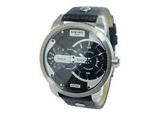 NWT Diesel Men's Watch Silver SS & Black Leather 45MM SBA MINI DADDY DZ7307 $250