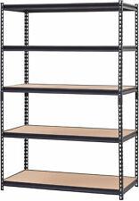 48W X 24D X 72H Muscle Rack 5-Shelf Black Steel Shelving Garage Storage Patio