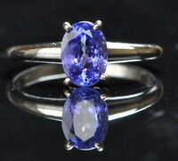 3.20 Carat Natural Blue Tanzanite Oval Shape Solitaire Ring In 14KT White Gold