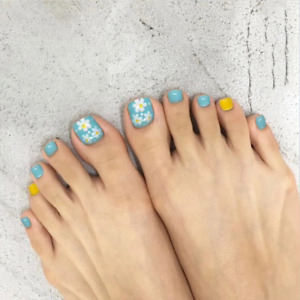 French Daisy Fake Toe Nails Blue Full Cover Artificial Nail Tips Toenails Decor