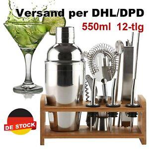 12Tlg Cocktail Shaker Bar Set + Zubehör Cocktailset Mixer 550ml aus Edelstahl DE