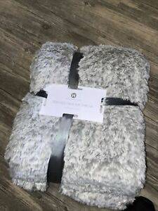 "HOTEL COLLECTION Classic Textured Faux Fur Throw 50"" x 70"" Light Gray BRAND NEW"