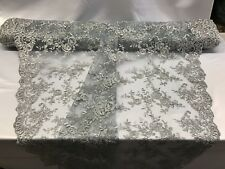 Lace Fabric - Bridal Flower/Floral Embroidered Mesh Silver Wedding By The Yard