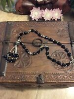 Black Faceted Crystal Glass 925 Silver Necklace Festive Hippy Boho Bling *J2
