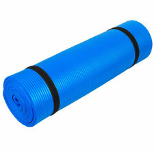 """72""""x24"""" Extra Thick - 8mm Yoga Mat Exercise Fitness Pad on-Slip with Strap Blue"""