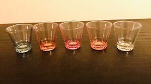 SET OF 5 VINTAGE COLOURED GLASS SHOT GLASSES