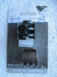 2 Goody Black Color Collection Slide Proof Secure Fit Claw Clip Hair Jaw Plastic
