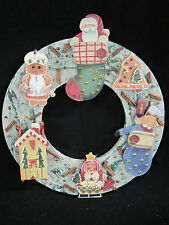 Christmas Wreath 16 inch Decorated Wood Santa Gingerbread Stocking Toys Winter