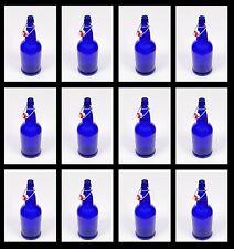BEER BOTTLES 12 BLUE EZ-CAP GLASS SWING TOPS FULL CASE 16oz SODA GROLSCH FLIPTOP