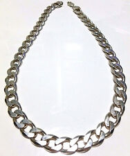 """HEAVY BIKER GANGSTER STERLING SILVER CUBAN CURB LINK CHAIN NECKLACE 21.5"""" 12.5mm"""
